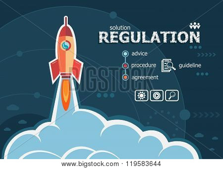 Regulation And Concept Background With Rocket.
