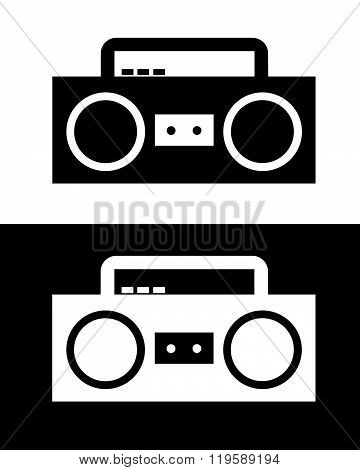 Vector Boombox in Black and Reverse