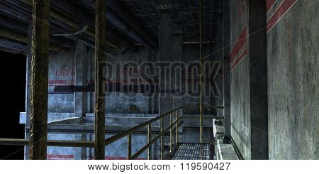 industrial room with stairs to the technical Department