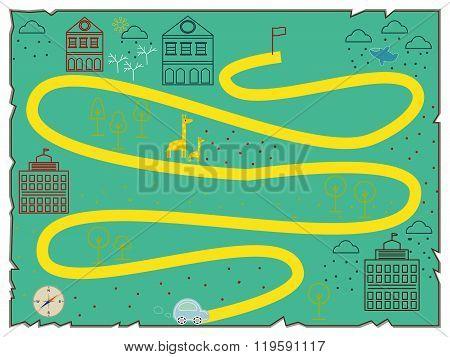 Illustration of creative treasure map flat design.