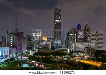 Skyline Panorama Of Downtown Houston, Texas By  Night