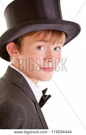 Handsome Boy In Formal Suit And Top Hat