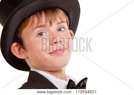 Handsome Boy In Top Hat Smiles At Camera