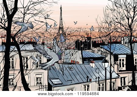 Montmartre in Paris with eiffel tower - vector illustration