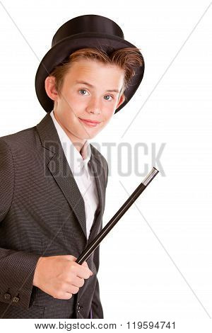 Cute Young Boy Dressed As A Magician