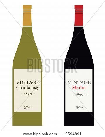 Vector Chardonnay Wine Bottle Set in Color and Black