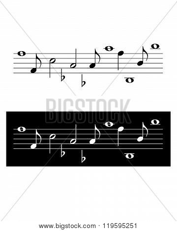 Vector Musical Note Set in black and reverse