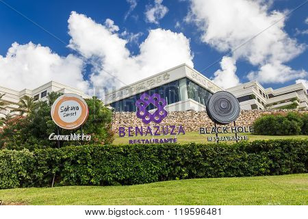 Restaurant Sakura Sunset, Benazuza And Black Hole Signs At Grand Oasis Sens