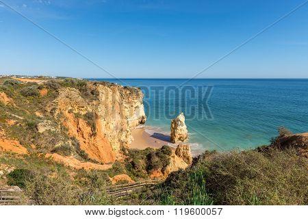 Rock And Dona Ana Beach In Portimao, Algarve, Portugal