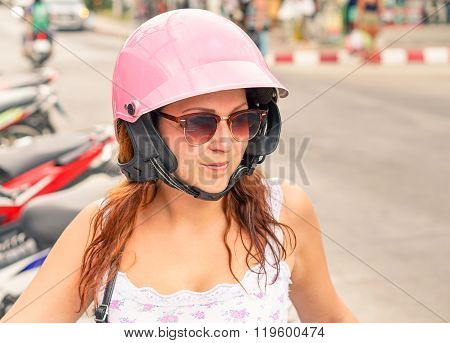 Handsome Girl Ready For Driving Scooter In Thailand - Young Woman Enjoy The Holidays