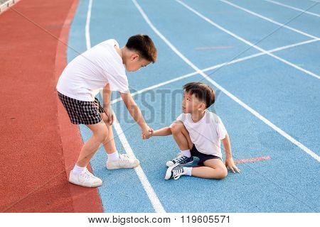 Boy Helper From Falling Run