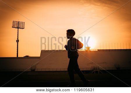 Silhouette Running Boy
