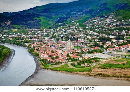 Mtskheta is one of the oldest cities of Georgia. Confluence of the Aragvi and Kura rivers in Mtskheta