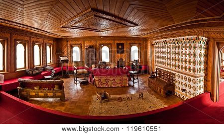MOSCOW, RUSSIA - SEPTEMBER 26, 2013: Traditional home interior Russian aristocracy of the 17th century. Romanov boyar chambers