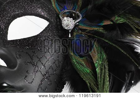Elaborate Mardi Gras Mask with diamond ring
