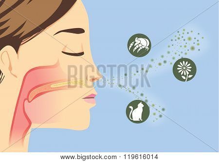 Something that cause allergic reactions include pollen, dust particles and animal poster