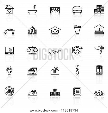 Hospitality Business Line Icons With Reflect On White Background