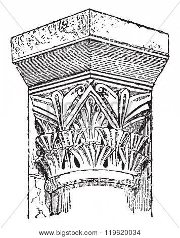 Capital Carlovingian, Crypt of St-Etienne Auxerre, vintage engraved illustration. Dictionary of words and things - Larive and Fleury - 1895.