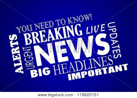 Breaking News Headlines Word Collage