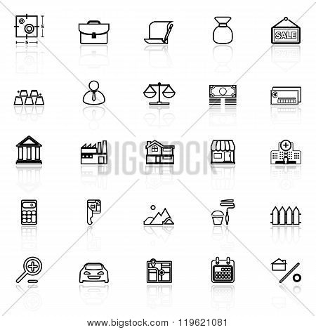 Mortgage And Home Loan Line Icons With Reflect On White
