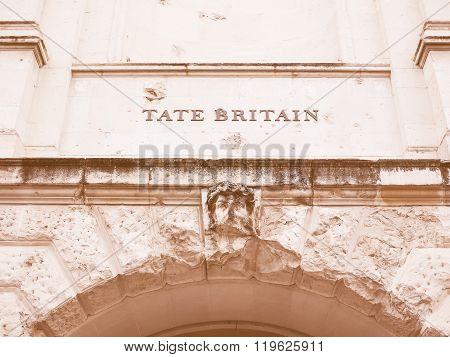 Vintage looking Tate Britain art gallery in London UK poster