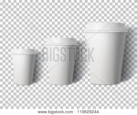 Vector Coffee Cup Set Isolated on Transparent PS Style Backgroun