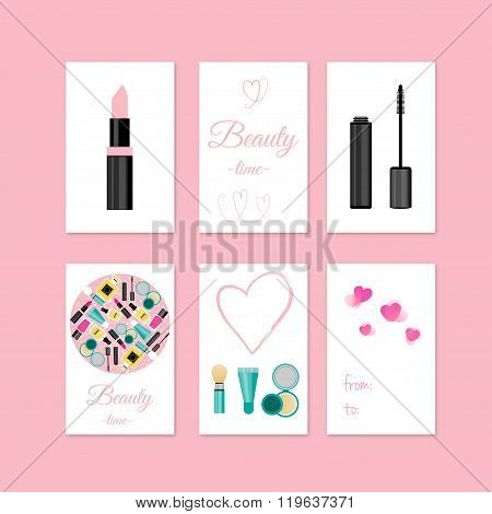 Beauty And Make Up Style Gift Tags And Cards With Make Up Tools. Stock Vector Illustration