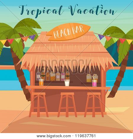 Tropical Vacation Banner With Beach Bar And Palm Trees