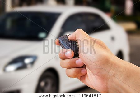 Close Up Hand Holding Car Key