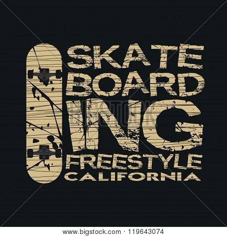 Skateboarding, T-shirt, Typography