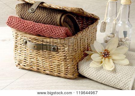 towels in a wicker basket