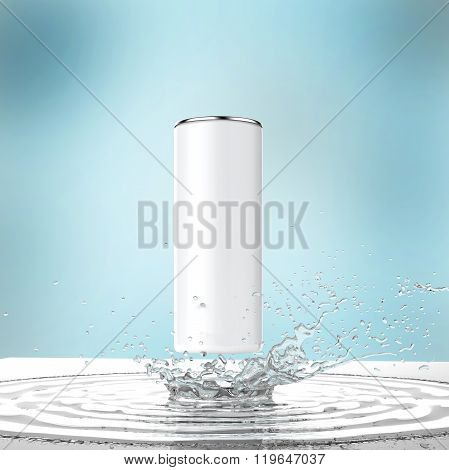 blank white energy drink can mock-up with water splash  ice cubes render