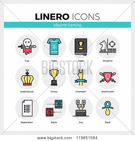 Esports Gaming Linero Icons Set