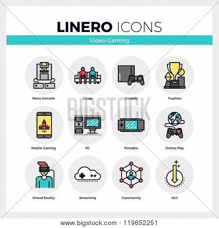 Video Gaming Linero Icons Set