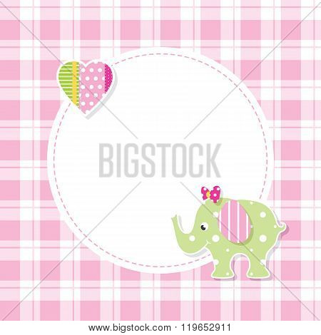pink and green baby girl elephant greeting card