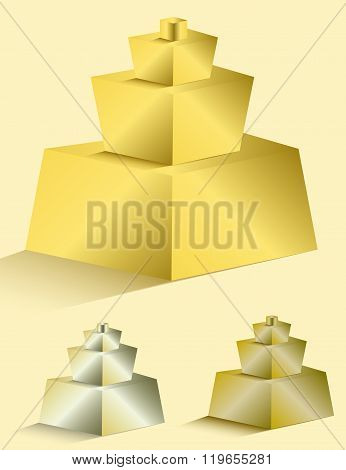 Set Of Colorful Pyramids On White Background