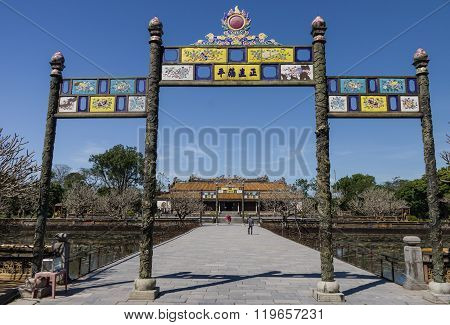 Entrance Gate To Citadel With Roayal Palacr In Background, Hue, Vietnam