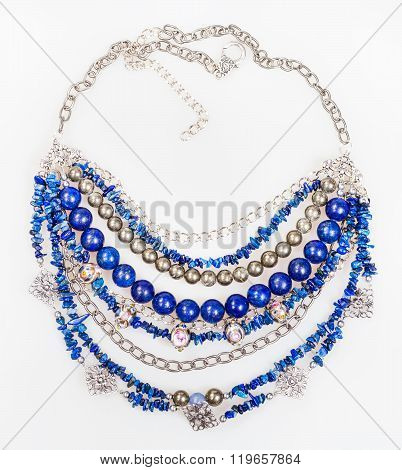 Top View Of Blue Necklace From Natural Gemstones