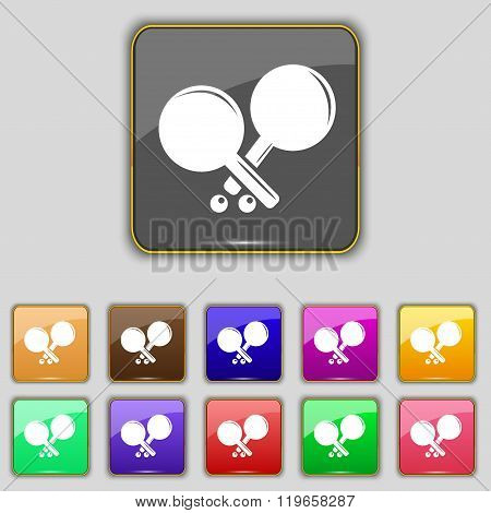 Tennis Rocket Icon Sign. Set With Eleven Colored Buttons For Your Site.