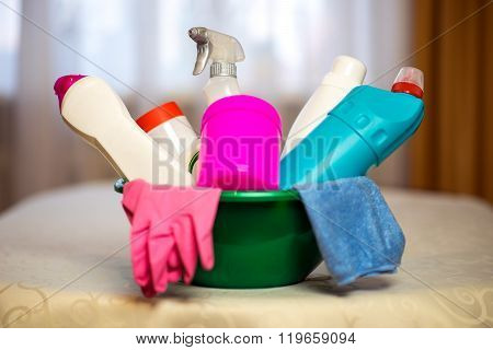 Household chemicals. The means for cleaning the houseHousehold chemicals. The means for cleaning the
