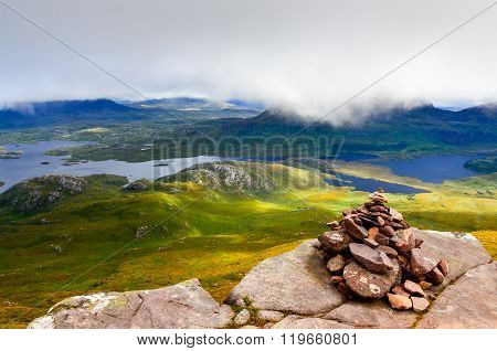 Inverpolly Wilderness Landscape With Small Stone Pyramid, Scotland