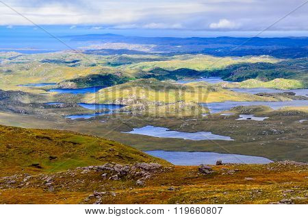 Landscape View Of Inverpolly Mountains Area In Highlands Of Scotland
