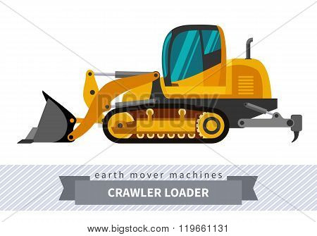 Crawler loader. Heavy equipment vehicle isolated color vector illustration. poster