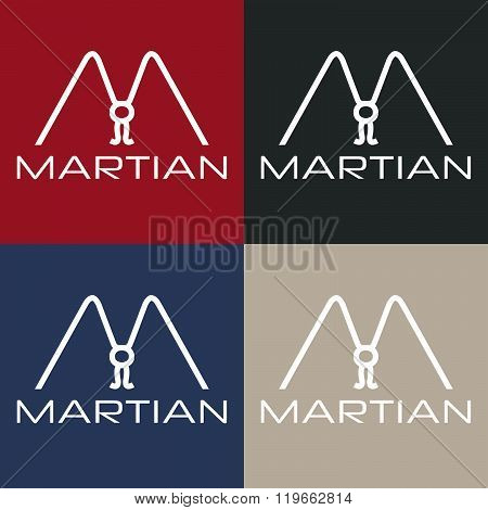 Martian Monogram . Concept Of Graphic Clipart Work