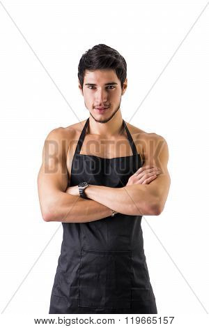 Young sexy shirtless chef or waiter wearing only apron