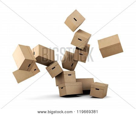 Conceptual image of a cardboard box on a white background. 3d re