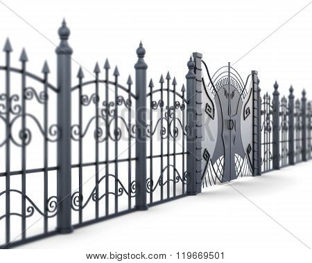 Metal fence and gate on a white background, view angle. 3d rende