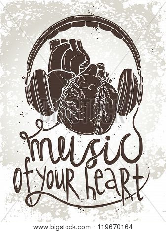 Anatomical heart with headphones, hand drawn illustration of music concept with text