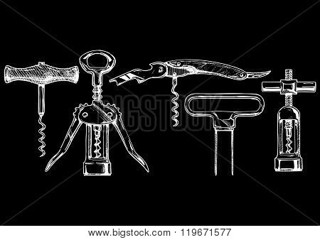 Vector Illustration Set Of Corkscrews
