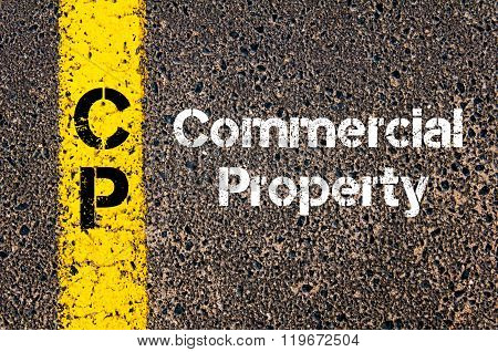 Concept image of Business Acronym CP Commercial Property written over road marking yellow paint line poster